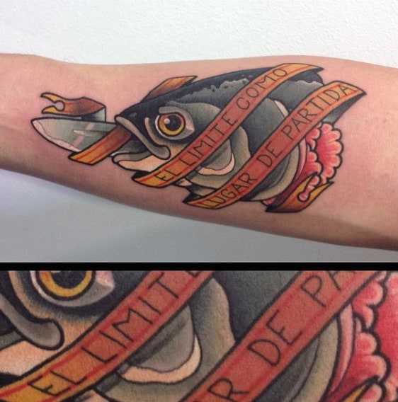 Fish And Banner Culimary Tattoo Male Forearms