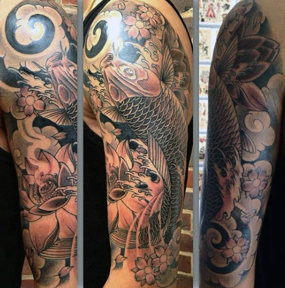 Fish And Flower Men's Tattoos