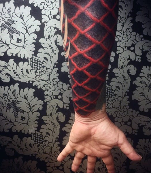 Top 90 best armor tattoo designs for men walking fortress for Fish scale tattoo