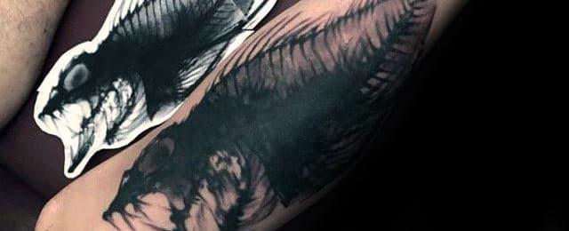 Fish Skeleton Tattoo Designs For Men