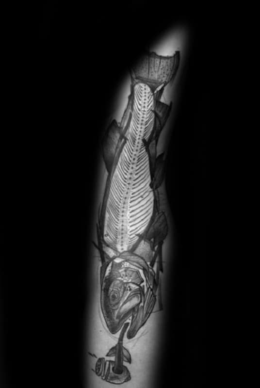 Fish Skeleton With Pipe Mens Arm Tattoo Ideas
