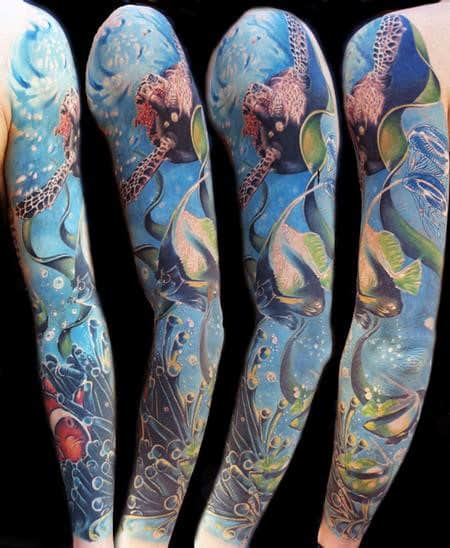 Fish Swimming In Ocean Sea Mens Sleeve Tattoos