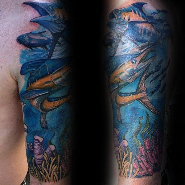 Fish With Coral Reef Half Sleeve Tattoo On Man