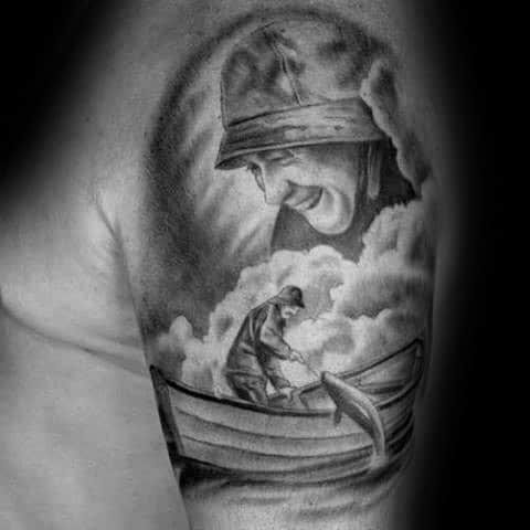 Fisherman Memorial Dad Upper Arm Guys Tattoo Design Inspiration