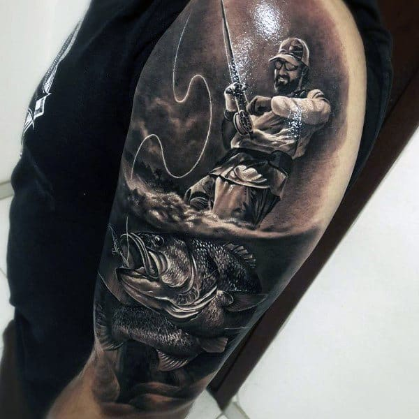Fishing 3d Underwater Male Arm Coolest Tattoos