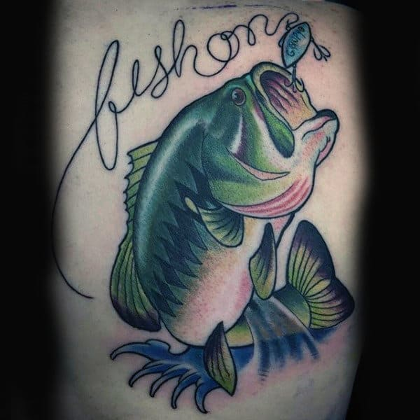 Fishing Bass Tattoo Script With Excellent Shading On Guy