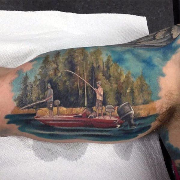 Fishing Inner Arm Bicep Sports Guys Tattoo Designs