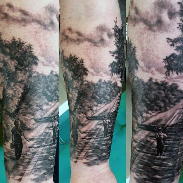 Fishing Tattoo Men's Sleeve