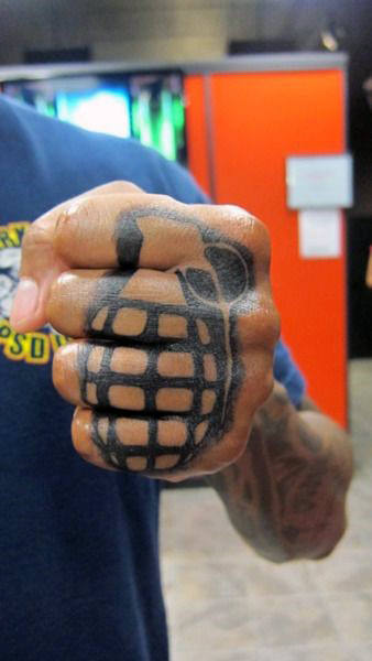 Fist Knuckle Grenade Tattoo For Guys With Black Ink