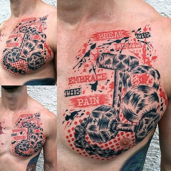 Fitness Mens Trash Polka Tattoos On Chest