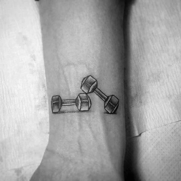 Tatuajes Pequeños De Fitness Con Mancuernas