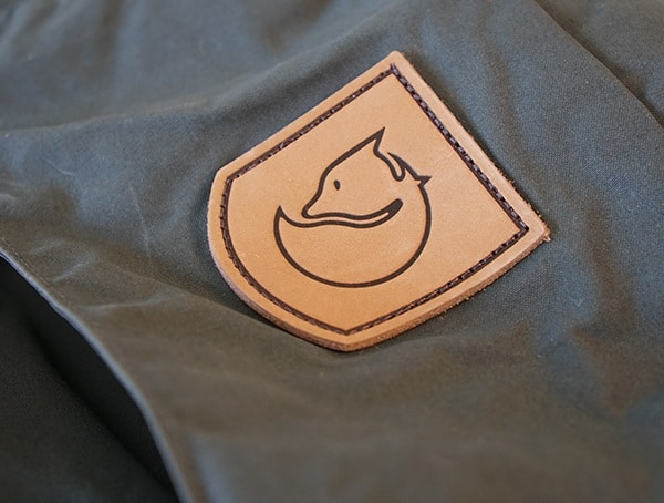 Fjallraven Kajka 75 Liter Backpack Leather Patch Stiched Detail