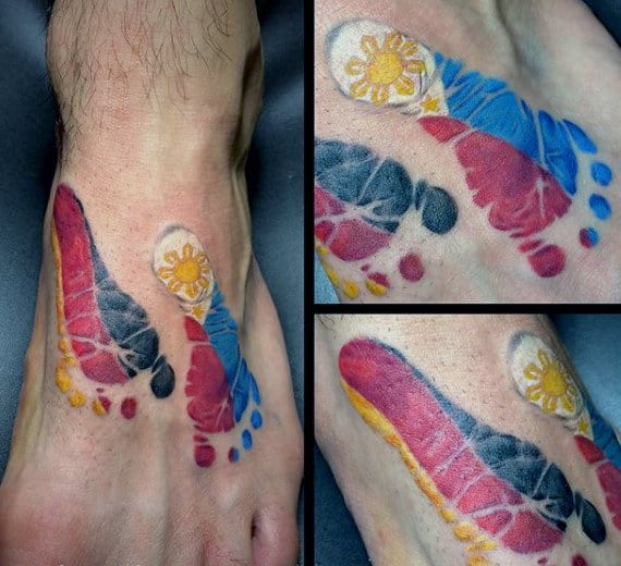 Flag Footprint Mens Creative Foot Tattoo Ideas