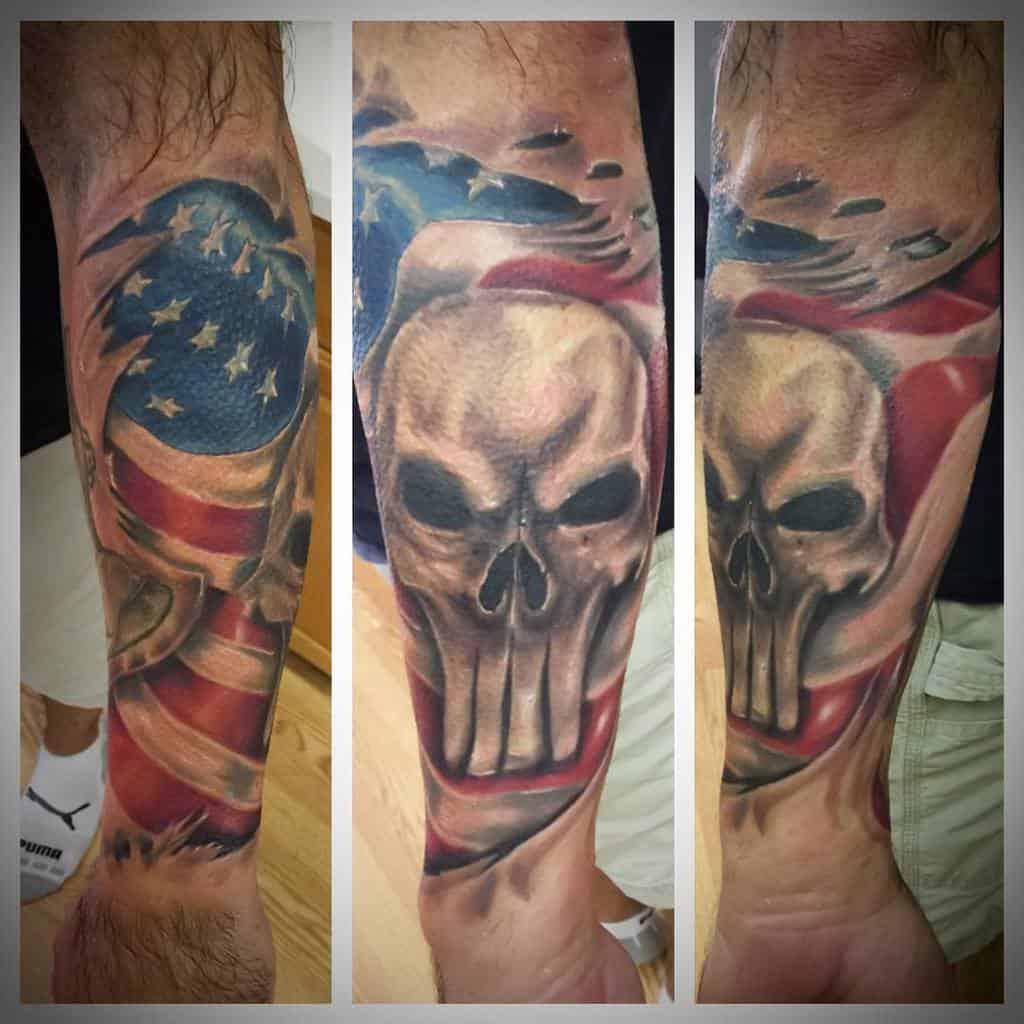 flag punisher skull tattoo saneltattoos