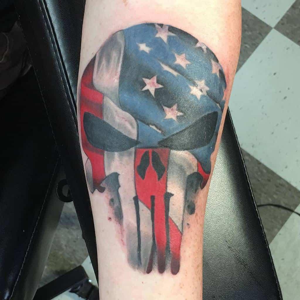 flag punisher skull tattoo stevenjessee