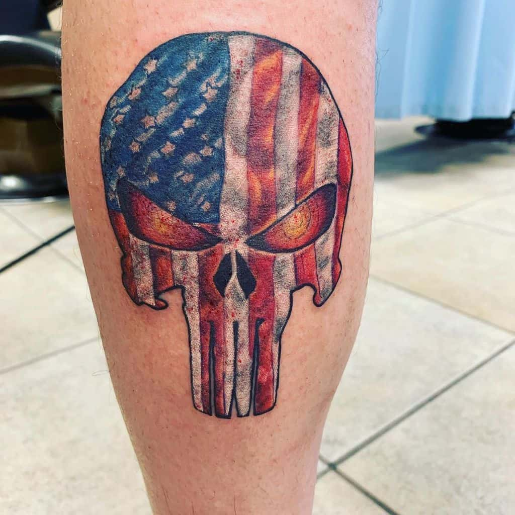 flag punisher skull tattoo tattoosbycurtismckie