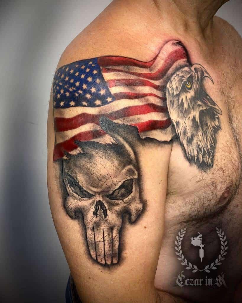 flag punisher skull tattoo zarcer