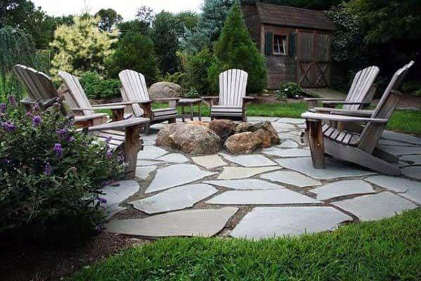 Flagstone Home Outdoor Patio Firepit