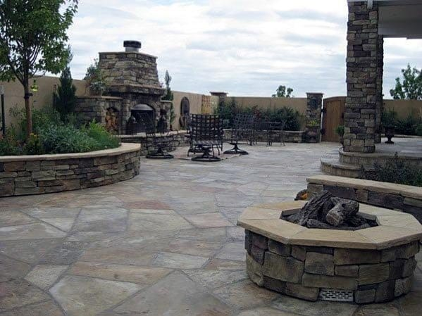 Flagstone Patio Ideas Inspiration With Fire Pit And Fireplace