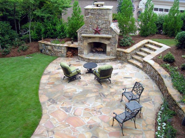 Flagstone Patio Ideas With Giant Fireplace