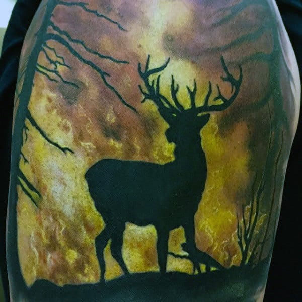 Flame Sleeve Tattoo Designs On Men Of Deer