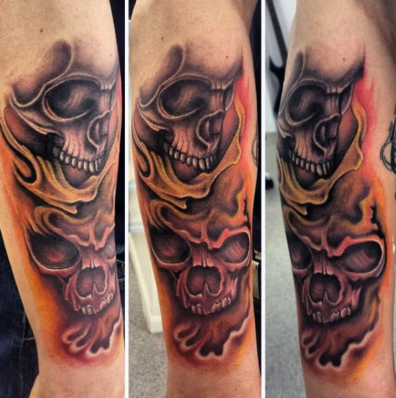 Flame Tattoo Ideas For Males With Skulls