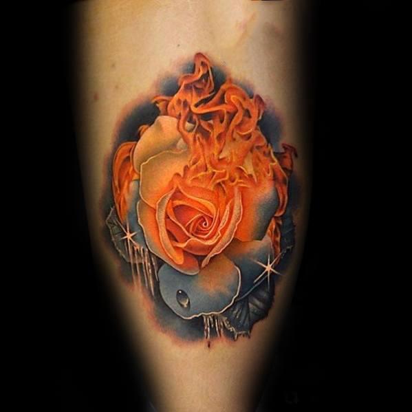 Flames And Ice Leg Calf Surrealism Tattoos Guys