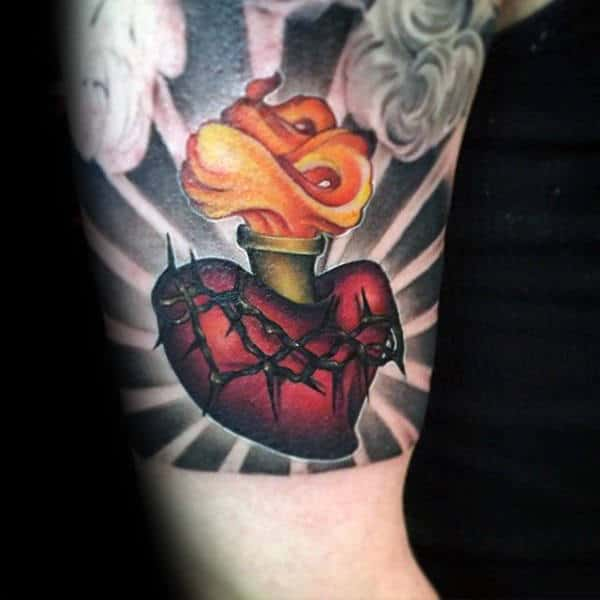 Flames With Sacred Heart And Black Ink Sun Ray Background Guys Quarter Sleeve Tattoos