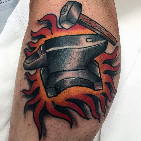 Flaming Anvil With Sledgehammer Mens Leg Calf Tattoos
