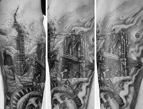 Flaming Brooklyn Bridge Mens Forearm Tattoo