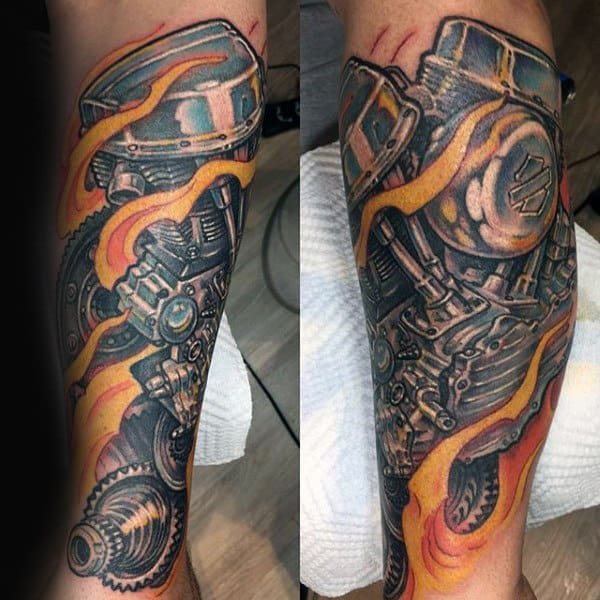 Flaming Engine 3d Bikers Tattoos