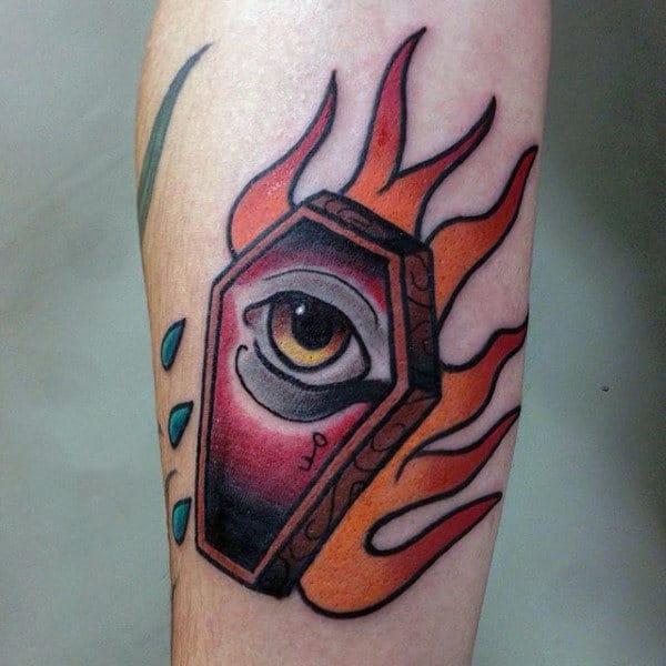 Flaming Eye Coffin Mens Tattoo