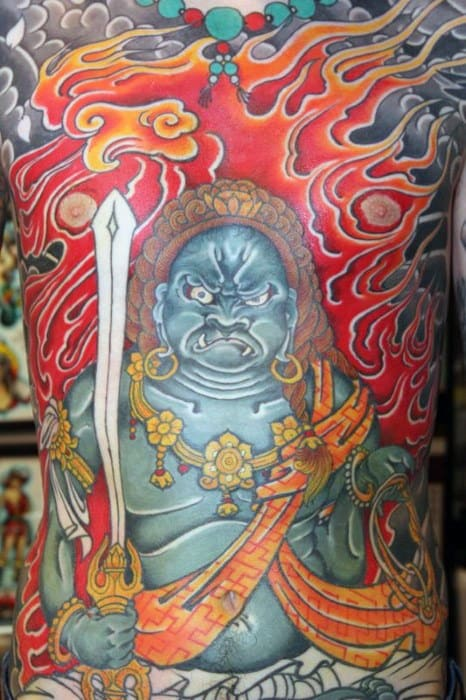 Flaming Full Chest Male Fudo Myoo Tattoo Designs