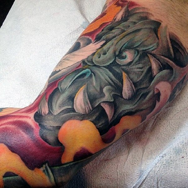 Flaming Gargoyle Mens New School Inner Arm Bicep Tattoos