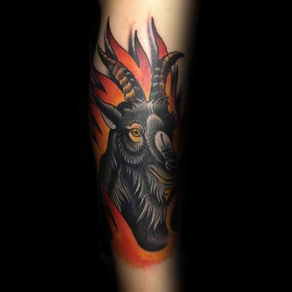 Flaming Goat Guys Forearm Tattoo Designs