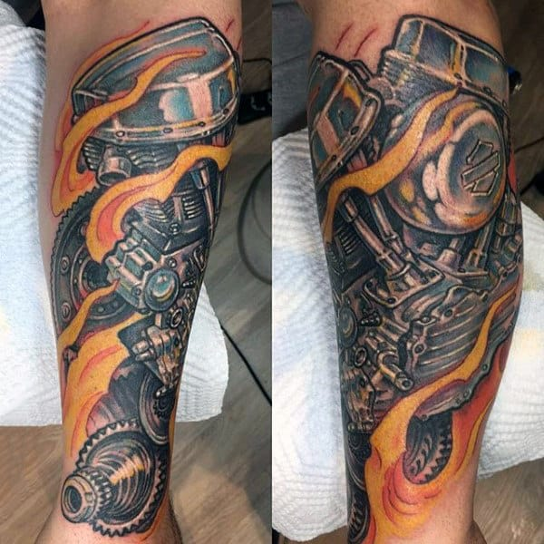 Flaming Harley Davidson Engine Mens Sleeve Tattoos