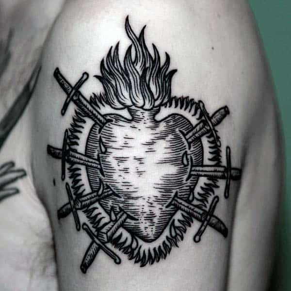 Flaming Heart With Swords Woodcut Upper Arm Guys Black Ink Tattoo