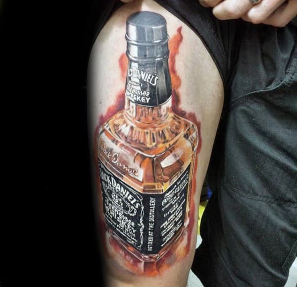Flaming Jack Daniels Bottle Mens Thigh Tattoos