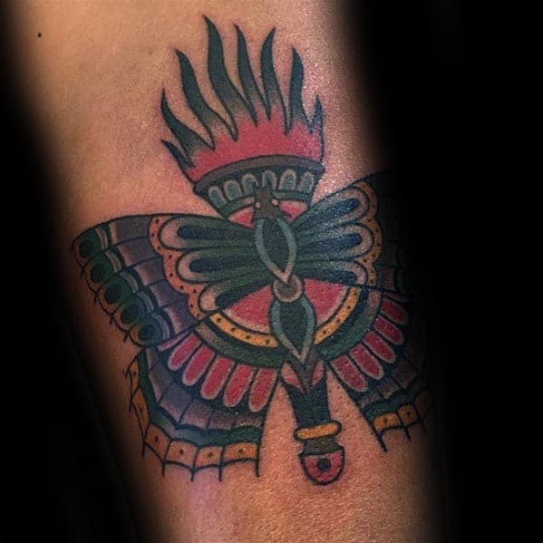 Flaming Lamp With Moth Traditional Arm Tattoo For Guys