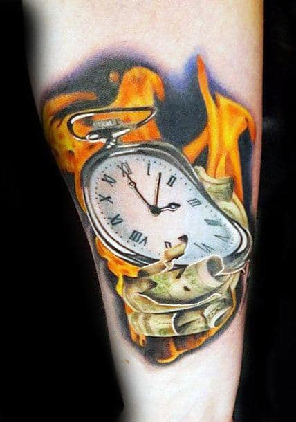 Flaming Melting Clock Mens Realistic 3d Forearm Tattoo