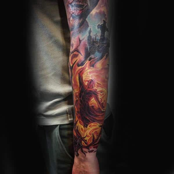 Flaming Mens Sleeve Tattoo Ideas