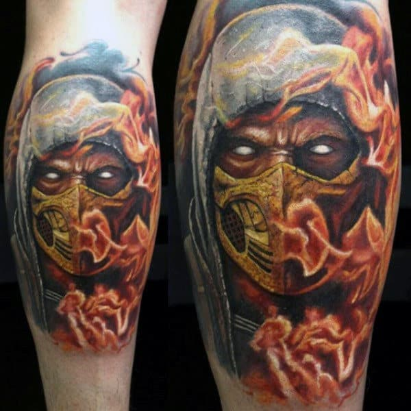 Flaming Mortal Kombat Mens Scorpion Leg Calf Tattoos