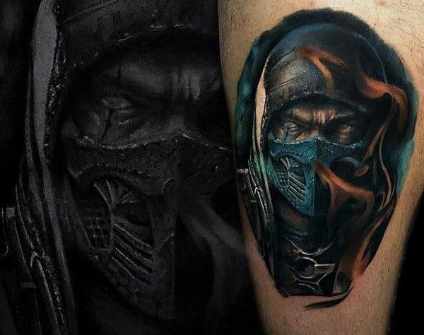 Flaming Mortal Kombat Mens Watercolor Arm Tattoos