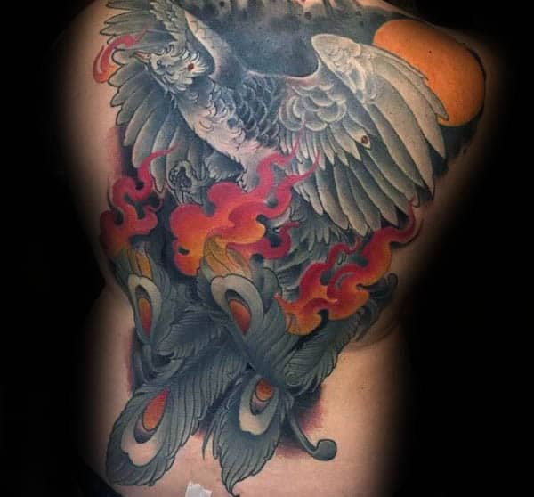 Flaming Phoenix Mens Modern Full Back Tattoos