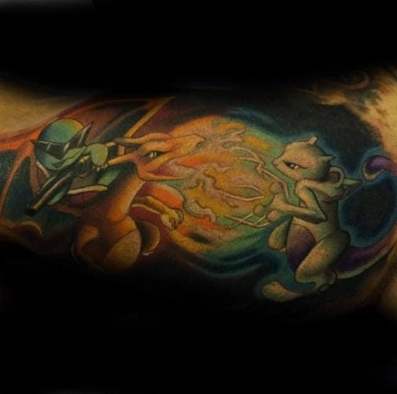 Flaming Pokemon Battle Mens Inner Arm Bicep Tattoo