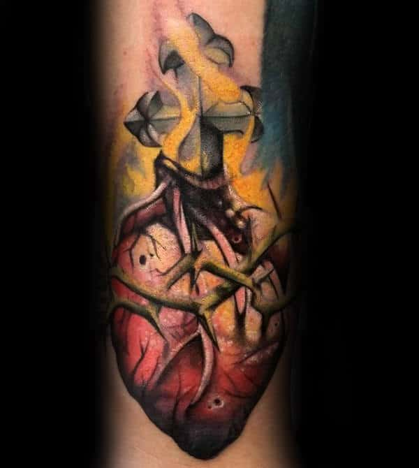 Flaming Sacred Heart With Cross Mens Creative Forearm Tattoo