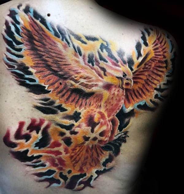 Flaming Shaded Male Phoenix Upper Back Tattoo Designs