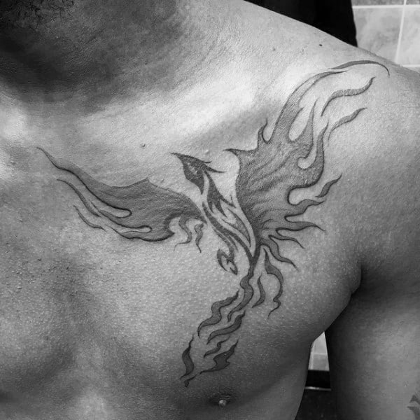 Flaming Shaded Phoenix Mens Tribal Chest Tattoos
