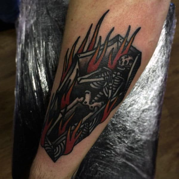 Flaming Skeleton Male Coffin Tattoo Inspiration