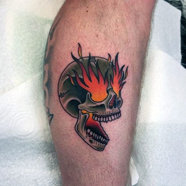 Flaming Skull Eyes Guys Traditional Small Tattoo Designs On Legs